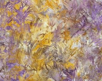 REMNANT--Purple and Mustard Batik Cotton Fabric-- 5/8 Yard