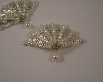 Fan Shaped Pearl and Rhinestone Applique--One Piece