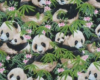 Cute Packed Pandas in Bamboo Print Pure Cotton Fabric from Elizabeth's Studio--One Yard