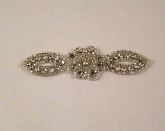 Small Rhinestone Applique with Flower--One Piece