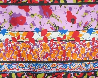 REMNANT--Bright Floral Stripe Print Cotton Stretch Sateen Fabric--1&3/8 Yard
