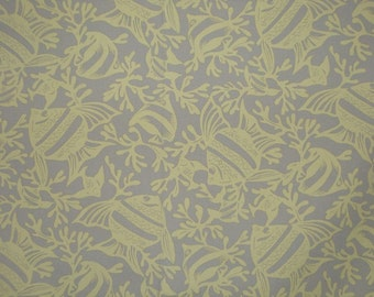 SPECIAL--Beige with Yellow Fish Print Stretch Cotton Fabric-One Yard
