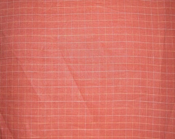 SPECIAL--Light Brick Red Windowpane Check Pure Linen Fabric--One Yard