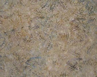 Taupe and Grey Batik Cotton Fabric One Yard