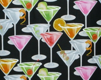 Martini Glass Print Cotton Fabric--One Yard