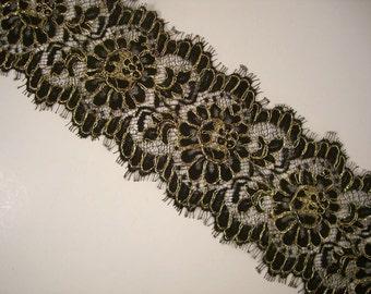 Black and Metallic Gold Lace Trim--One Yard
