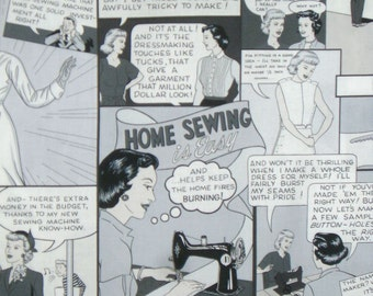 Home Sewing is Easy Cartoon Strip Print Cotton Fabric in Black and White--One Yard