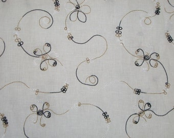 SPECIAL--Winter White with Black and Beige Vine Design Embroidered Pure Linen Fabric-One Yard