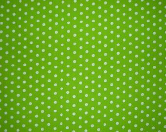 Lime and White PolkaDot Print Pima Cotton Fabric--One Yard