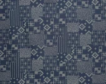 Japanese Indigo Patchwork Design Print Pure Cotton Fabric--One Yard