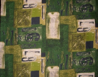 REMNANT--Urban Squares Print Fabric in Greens--1&1/8 Yard