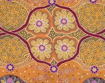 Womens Business Gold Aboriginal Print Pure Cotton Fabric--One Yard