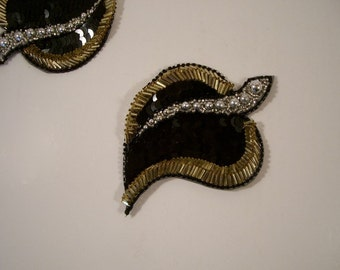 Black Gold and Silver Leaf Motif Beaded Applique--One Piece