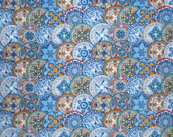 Blue Spanish Plates Allover Pure Cotton Print Fabric from Elizabeth's Studio--By the Yard
