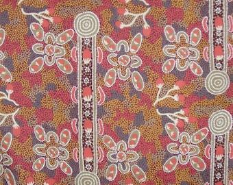 Bush Tomato Red Aboriginal Print PUre Cotton Fabric--One Yard