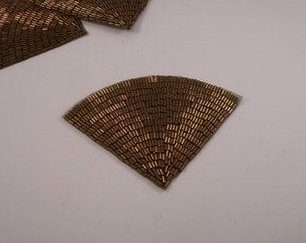 Bronze Deco Fan Shape Beaded Applique--One Piece