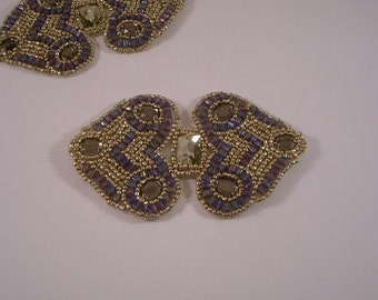 Amethyst Color and Gold Beaded Applique--One Piece
