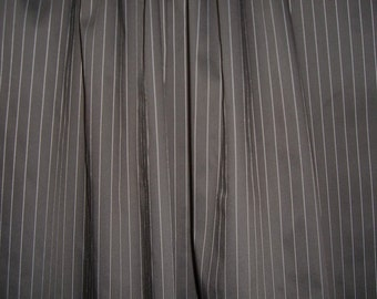 Chocolate Brown with White Pinstripe Cotton Stretch Shirting Fabric--One Yard