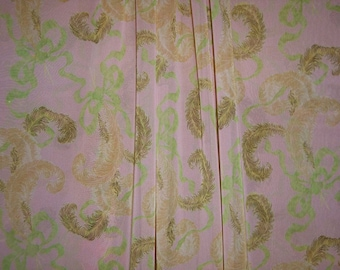 SPECIAL--Dusty Rose and Green Feather and Bow Print Silk Chiffon Fabric--One Yard