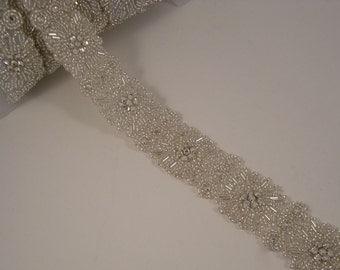 Elegant Silver and Rhinestone Beaded Trim--One Yard