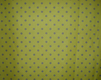 SPECIAL--Gray on Chartreuse Aspirin Polka Dot Pure Cotton Fabric--One Yard