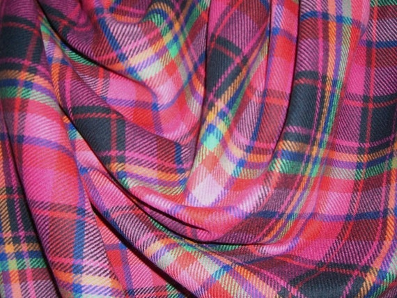 Hot Pink Pure Wool Plaid Fabricone Yard