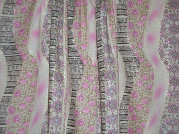 REMNANT--Pink and Lavender Klimt Style Stripe Print Cotton Lawn Fabric--2.5 Yards