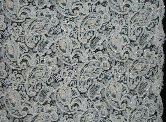 REMNANT--White Beaded Paisley Design Chantilly Lace Fabric from France--1&1/4 Yard