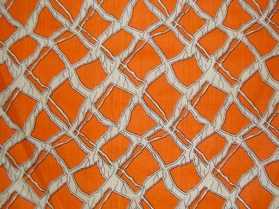 REMNANT--Orange African Print Fabric--2 Yards