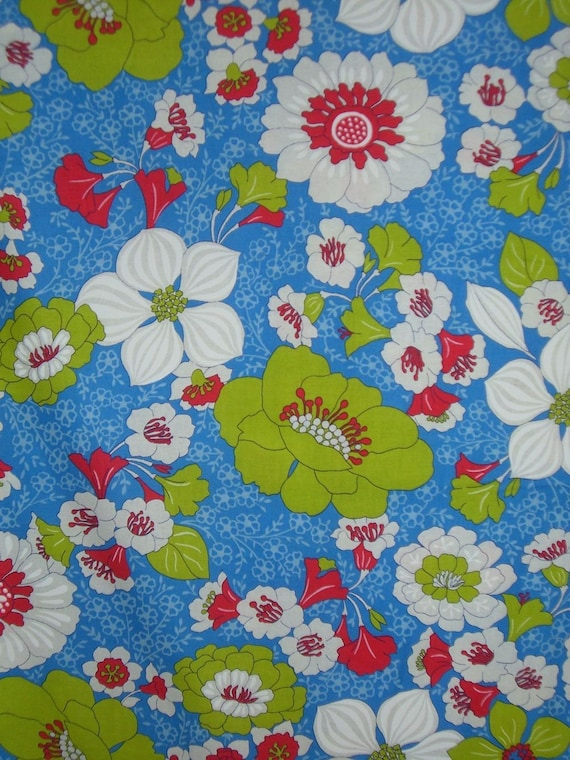 SPECIAL--Large Floral Print Cotton Fabric Junebug in Blue Red and White--One Yard