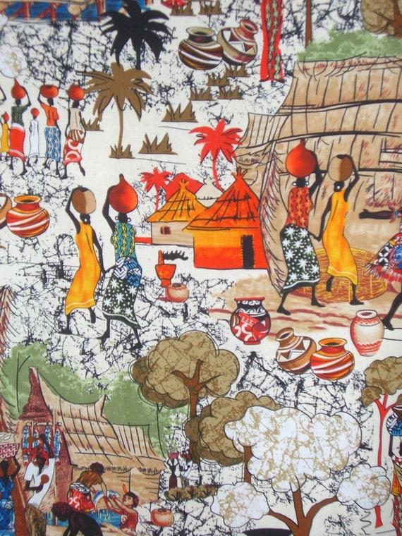 African Village Print Cotton Fabric--One Yard