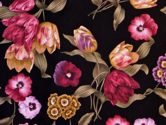 Rich Red and Golden Floral Print on Black Cotton Fabric--One Yard