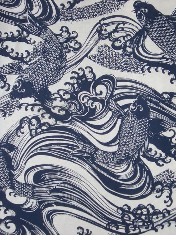 Unavailable listing on etsy for Koi fish print fabric
