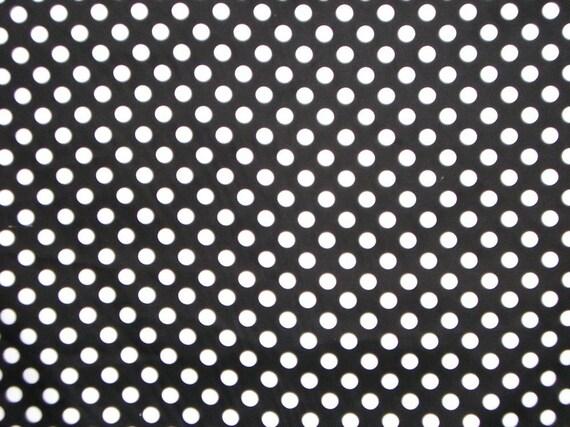 Black and White Polka Dot Print Cotton Sateen Stretch Fabric--One Yard