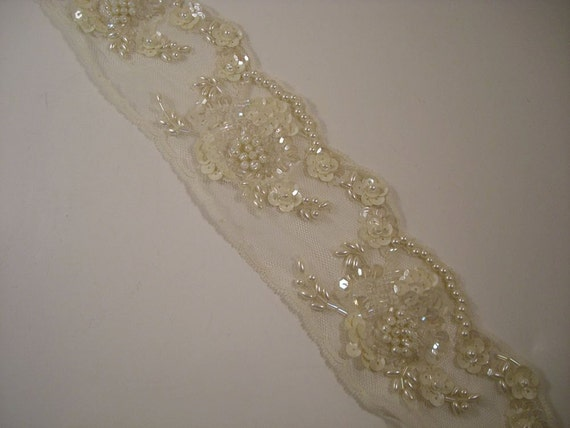 beaded lace trim in antique ivory one yard by