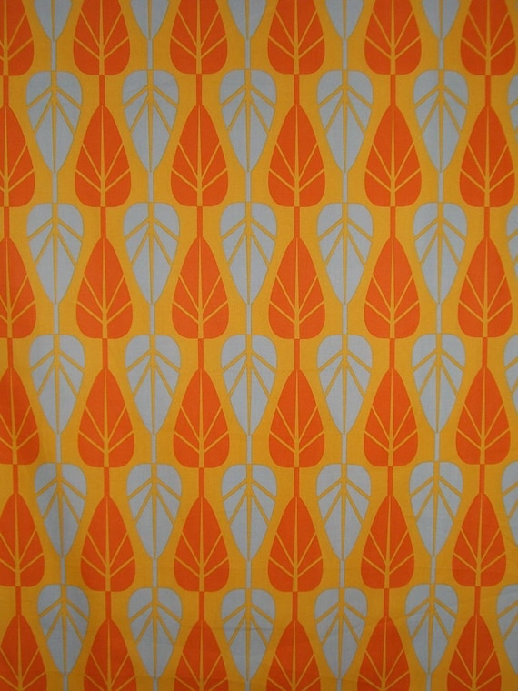 REMNANT--Leaf Pattern Modern Cotton Print Fabric in Orange and Blue Gray--1 & 3/8 Yard