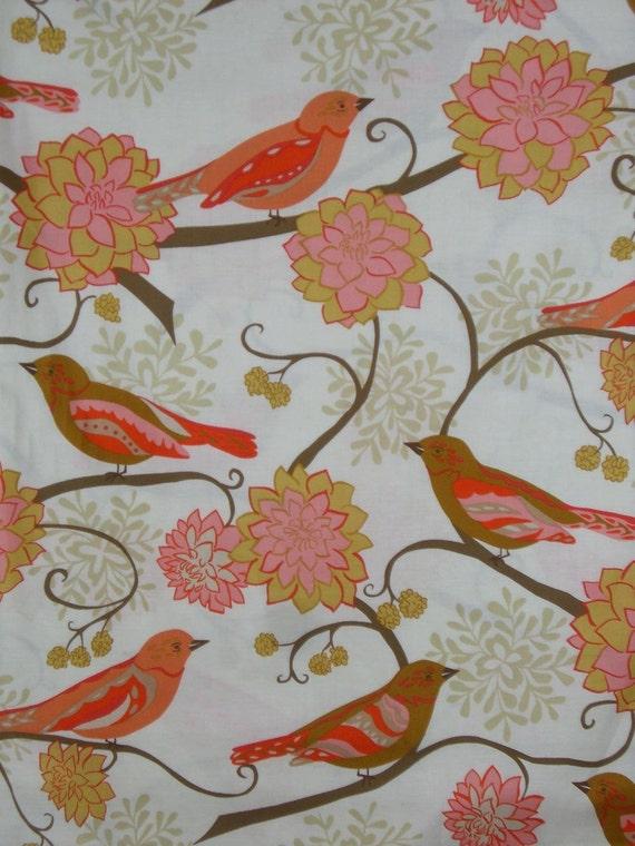 REMNANT--Orange Paisley Bird Print by Valori Wells Pure Cotton Fabric--One Yard