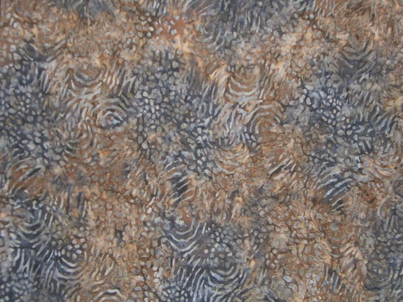 Brown Taupe and Grey Batik Cotton Fabric--One Yard