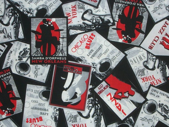 REMNANT--Jazz Poster Print in Black and Red Pure Print Fabric--1.5 Yards