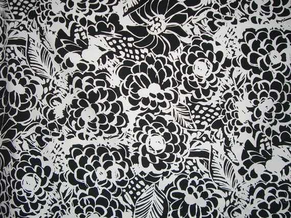 REMNANT--Black and White Floral Print Cotton and Lycra Pique Fabric--2 Yards
