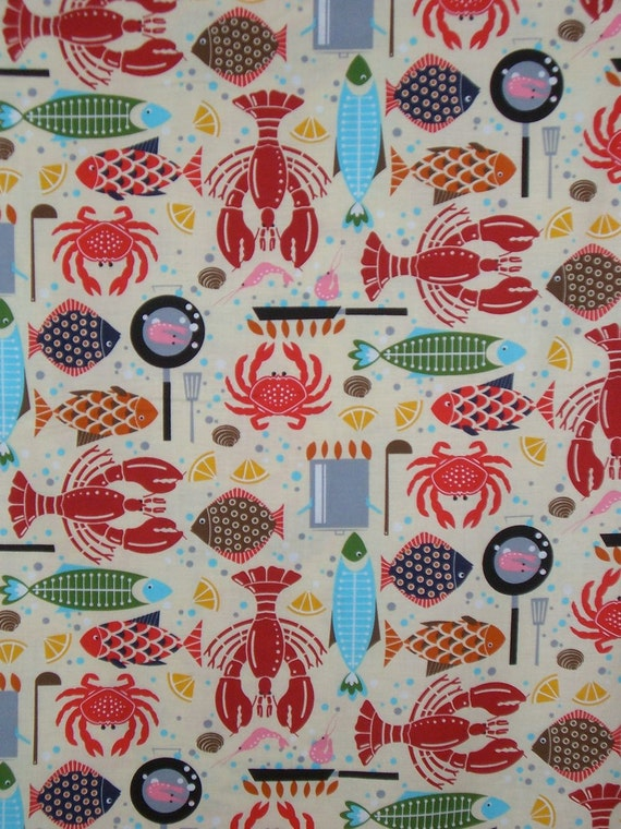 Lobster Bake Novelty Print Cotton Fabric--One Yard