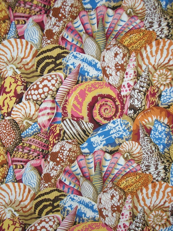 Philip Jacobs Shell Montage Print Pure Cotton Fabric in Natural--One Yard