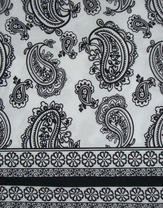 REMNANT--White and Black Paisley Border Print Cotton with Stretch Fabric--1&7/8 Yards