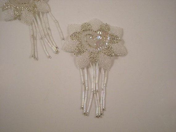 Beaded  and Sequin Fringed Applique with Heart--One Piece