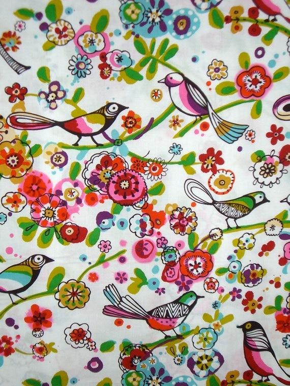 Larkspur Folkloric Bird Print Pure Cotton Fabric--One Yard