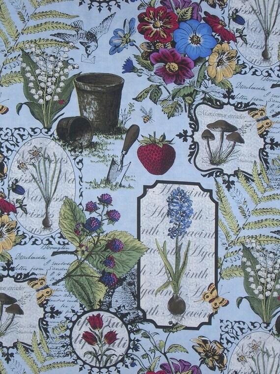 Botanica in Blue Print by Jason Yenter Pure Cotton Fabric--One Yard