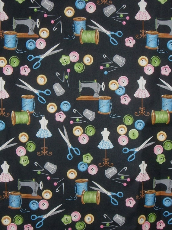 Pastel and Black Nostalgic Sewing Notions Print Cotton Fabric--One Yard