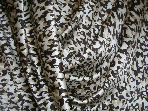 Brown and Cocoa Animal Print Pure Silk Charmeuse Fabric--One Yard
