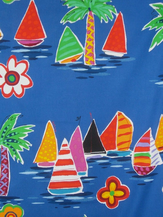 REMNANT--Sailboat Print Pure Cotton Fabric from Alexander Henry--1 & 3/8 Yards