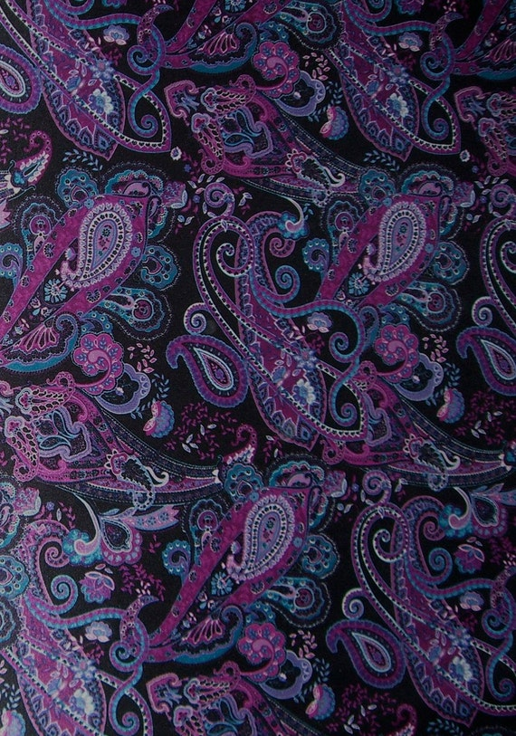 2 Remnantspurple Paisley Print Satin Polyester Jersey